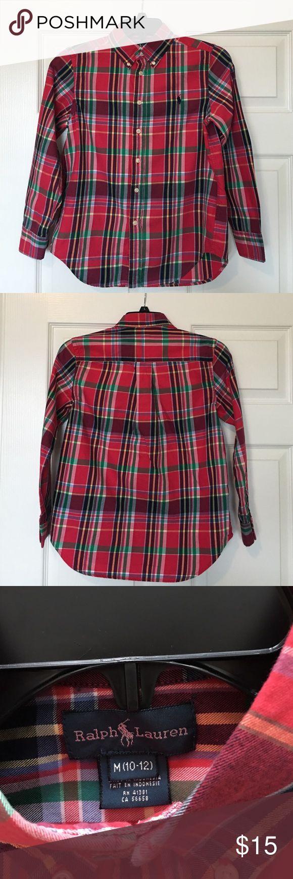 Ralph Lauren Red Plaid Shirt (10-12) Great condition. Ralph Lauren Shirts & Tops Button Down Shirts