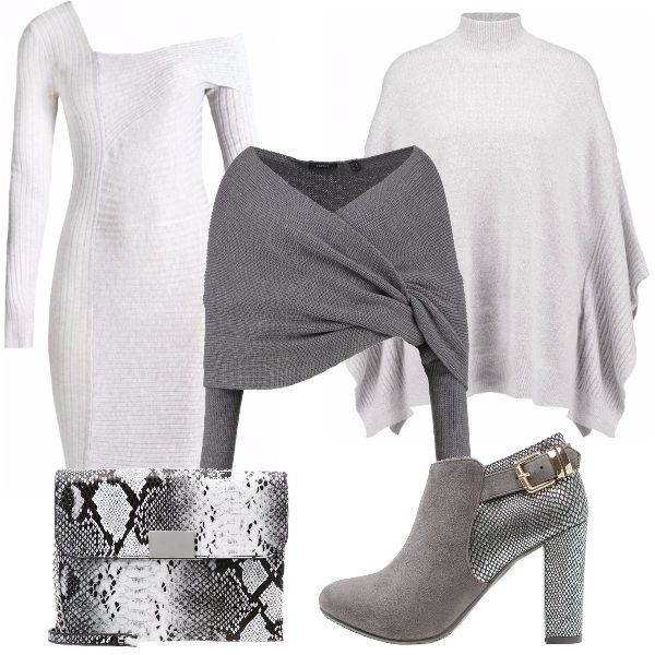 Vestito grigio chiaro con scollo asimettrico fasciante, coprispalle incrociato grigio scuro, calda mantella dal collo alto, tronchetto grigio con tacco pitonato e borsetta sempre pitonata.