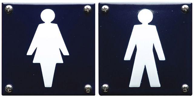 Stijlvolle, blauwe bordjes met dames- en heren pictogram