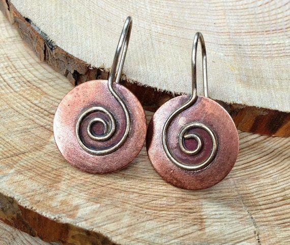 Spiral Earrings / Copper Jewelry / Copper Earrings / Mixed Metal Earrings / E072