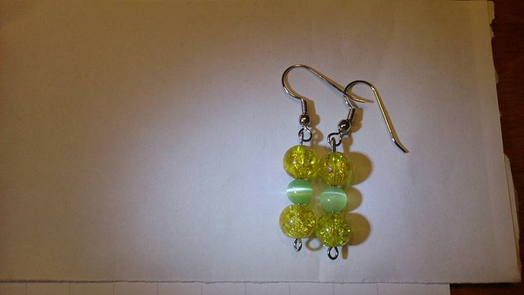 Yellow green cat eye earrings
