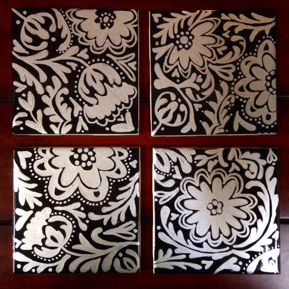 Set of 4 Black coasters with silver design by DecafDoodles on Etsy