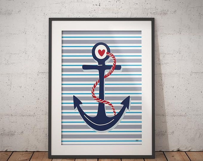 Anchor Nursery Art Print, Nautical Anchor Print, Anchor Decor, Anchor Art, Printable, Nursery Wall Art, Baby Boy Nursery, Nursery Decor by GPrezDesigns on Etsy. These are also great to give as a gift to friends and loved ones. Instant downloadable prints are such a convenient way to get it in your hands right away. To view more items click here: gprezdesigns.etsy.com