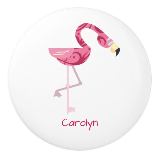 Personalized Pink Flamingo Bird Ceramic Knob