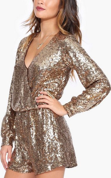 Sequin Romper in Gold
