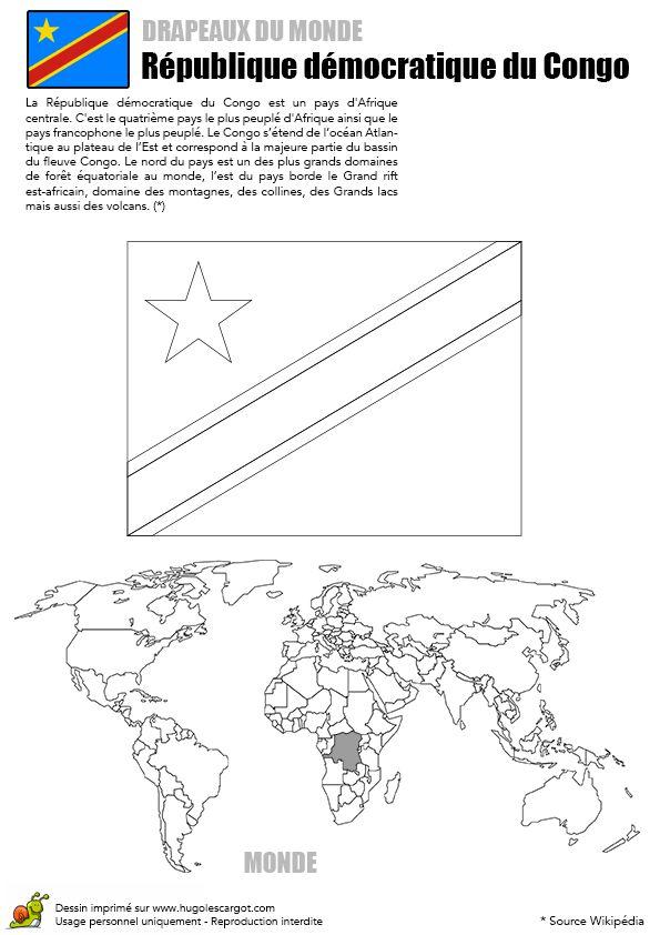 A colorier, le drapeau de la République Démocratique du Congo