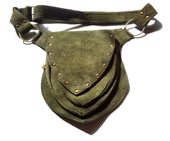 Unisex olive-green suede Utility Belt  travel by EarthCultured