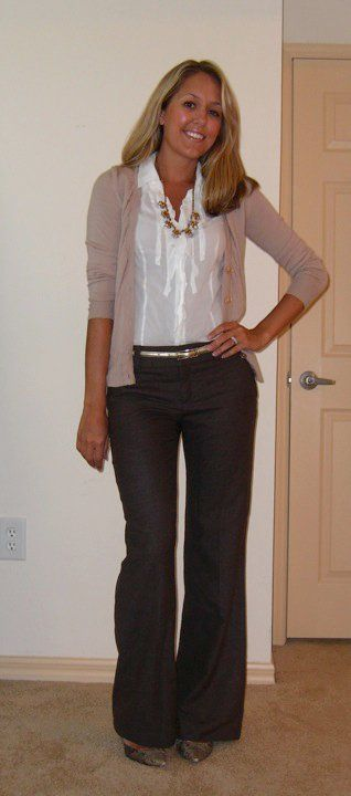 black or dark grey trousers, beige cardigan, white blouse -- work / professional outfit