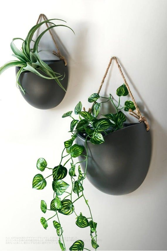 Handcrafted Hanging Ceramic Wall Plantersblack Wall Hanging Etsy In 2020 Ceramic Wall Planters Hanging Wall Planters Wall Plants Indoor