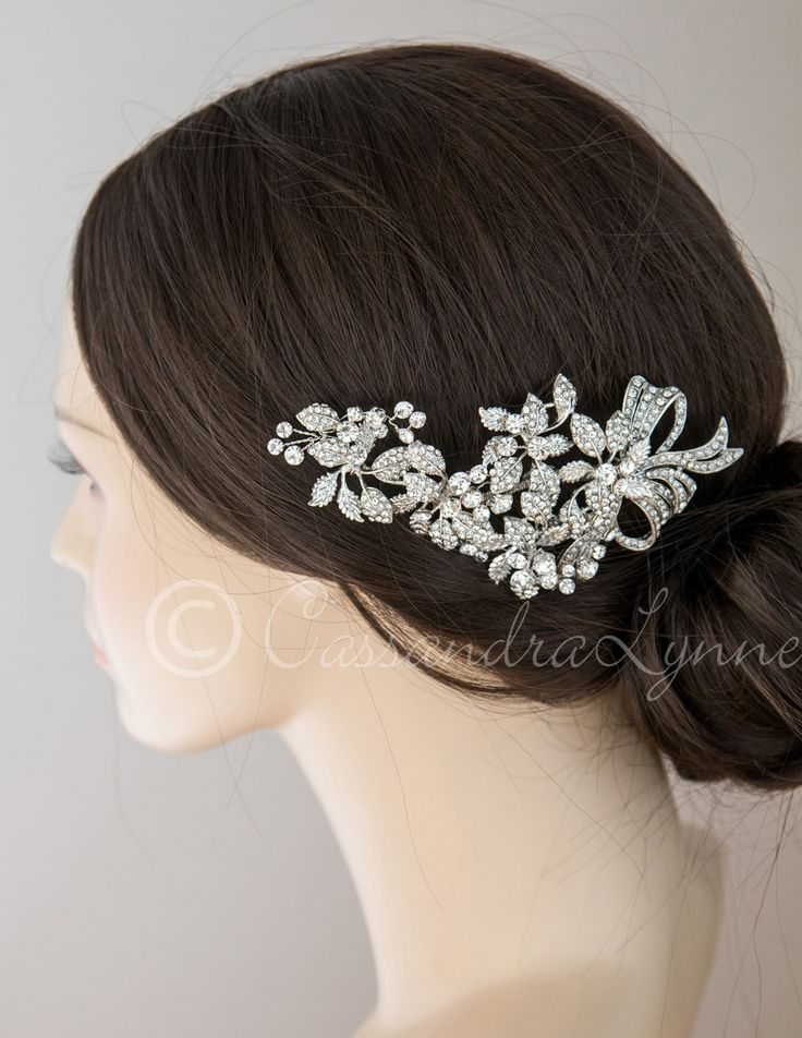 Antique Bridal Hair Clip of a Bow and Leaves