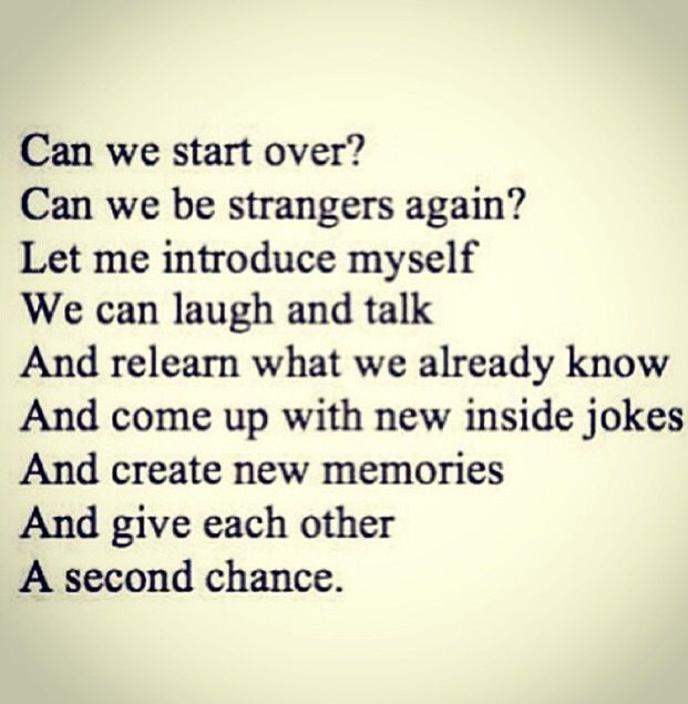 start all over again relationship advice