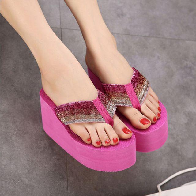 Real de Moda de Ultra Saltos Altos Flip Flops Sapatos de Bling Cor Brilhante de Verão Das Sandálias Das Mulheres Slip-on sapatos de Praia Verão Aleta chinelos Sandálias