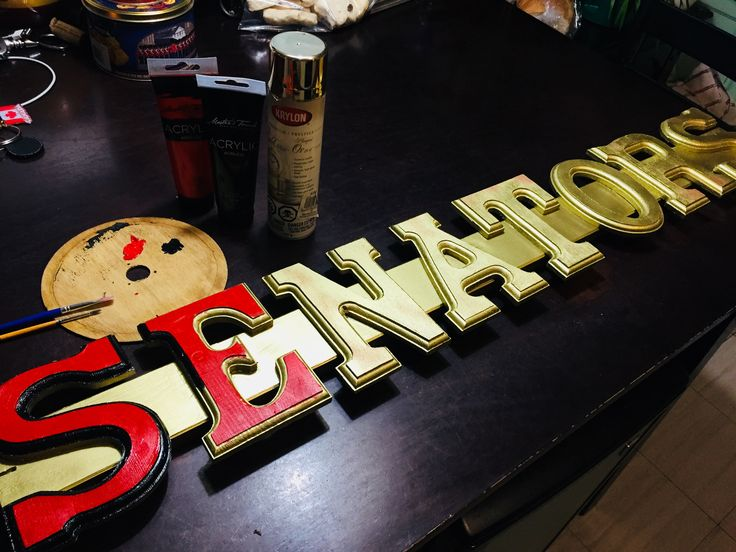 Homemade Ottawa Senators sign. Wooden Letters from art store, length of pine, wood glue, gold spray paint, black and red acrylic paint, 5 hours and your displaying your love for the Sens.