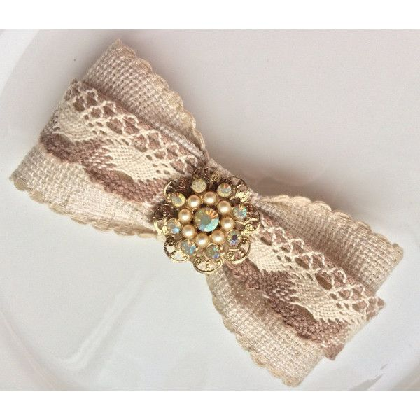 Brown Hair Bow Barrette Retro Cappuccino Hair Clip Lace Wedding... (€15) ❤ liked on Polyvore featuring accessories, hair accessories, vintage hair clips, brown hair clip, lace hair bows, pearl barrette hair clip and vintage hair accessories