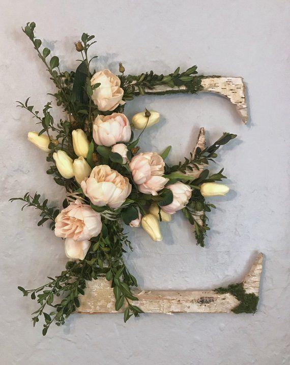 Personalized Monogram, Rustic Letter Wreath, Home Decor, Rustic Decor, Floral Monogram