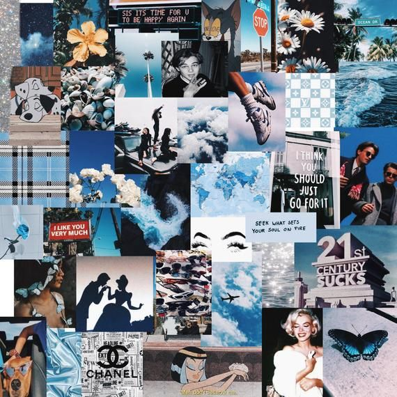 Wall Collage Kit Blue 90s Etsy In 2020 Collage Background Picture Collage Wall Wall Collage