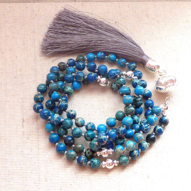 SILVER GURU, 108 beads mala sea sediment jasper stones, 108 malanecklace, Buddhist Jewelry, Prayer Beads, Tassel Necklace, Mala Beads by TheBlueLarkBoutique on Etsy