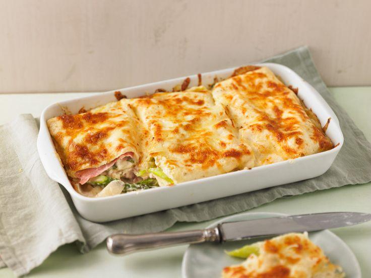 Spargellasagne mit frischem Spargel, Käse und Schinken