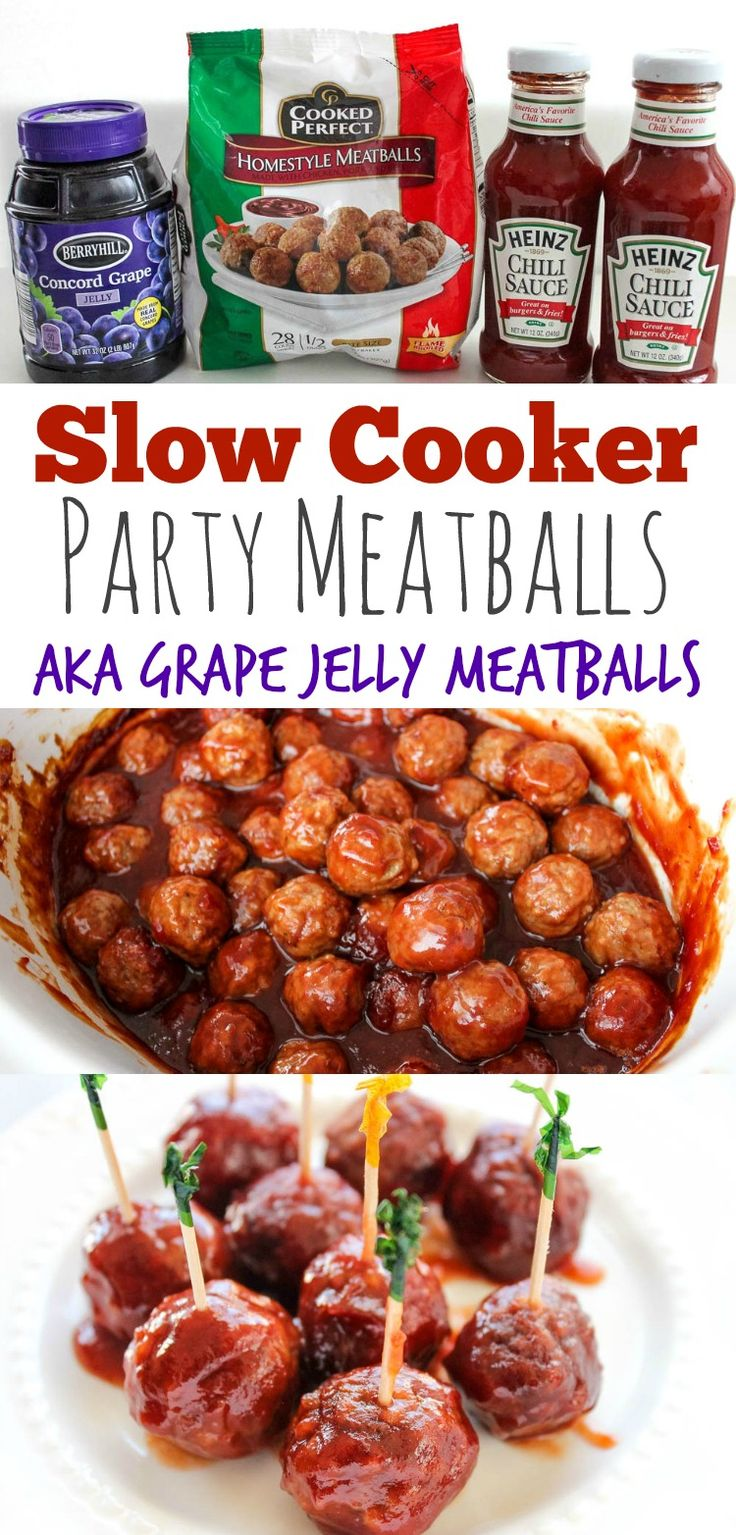 Slow Cooker Party Meatballs Recipe - Also known as Grape Jelly Meatballs, this recipe is super easy to prepare in a Crock Pot and feeds a crowd! Sweet, tangy & Delicious!