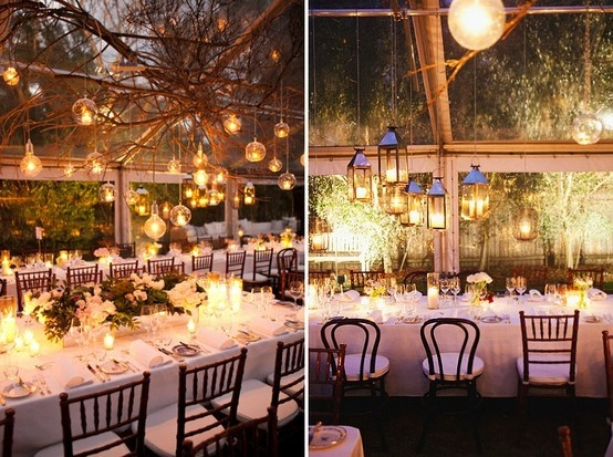 reception, #reception wedding stylingHanging Lights, Wedding Receptions, Receptions Lights, Wedding Ideas, Candles, Receptions Ideas, Lanterns, Long Tables, Outdoor Receptions