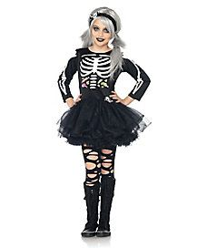 scary skeleton kids halloween costume for girls includes a cute black tutu dress with like bone prints candy print bow with skeleton patch