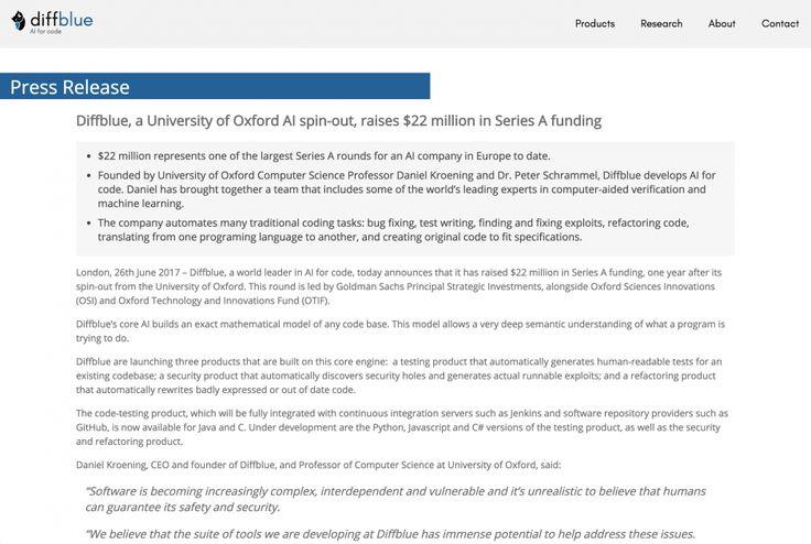 全てのコーディングをAIで自動化にを目指すオックスフォード大学発チーム「Diffblue」、シリーズAで2200万ドルの資金調達を発表。人工知能によるソフトウェア開発を目指す
