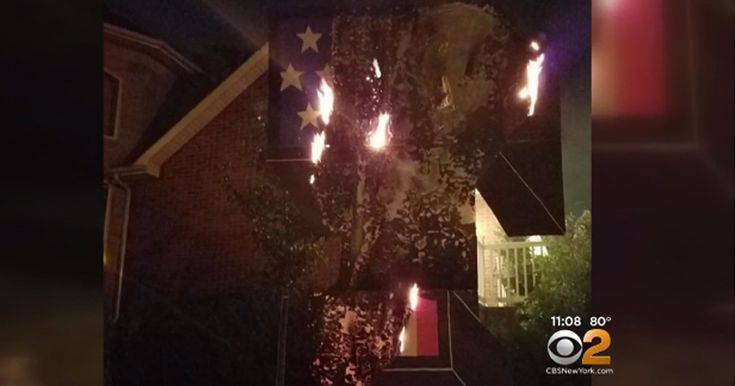 TRUMP STATUE SET ABLAZE ON HOMEOWNER'S PROPERTY Community fears suppression of First Amendment