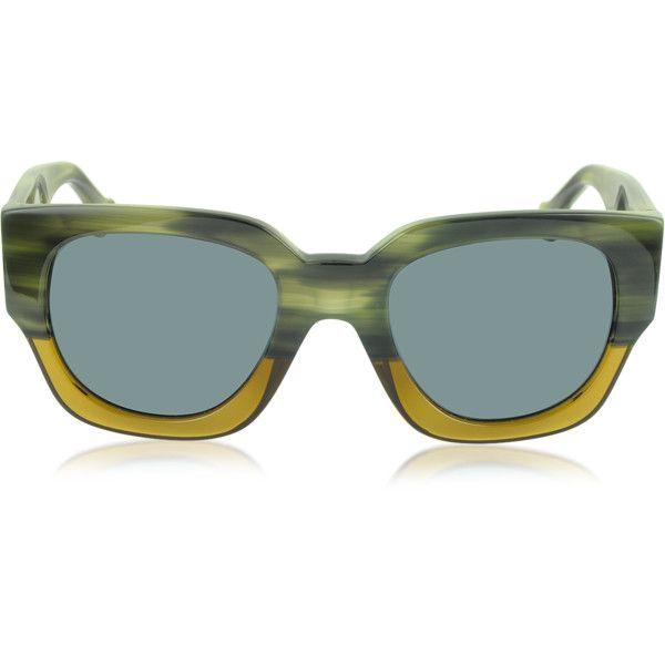 Balenciaga Designer Sunglasses BA0011 65V Green & Yellow Acetate... (970 BRL) ❤ liked on Polyvore featuring accessories, eyewear, sunglasses, balenciaga sunglasses, acetate glasses, rectangular lens sunglasses, logo lens sunglasses and rectangular glasses