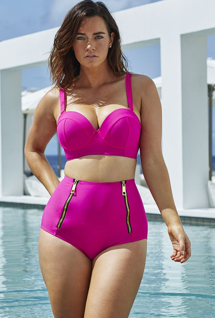 GabiFresh Pink Underwire Mid-Waist Bikini  Built-in underwire molded bra cups; Power Mesh-encircled bra provides full bust support; Double keyhole back closure; Metal S-hook closure with 3 adjustments; Fully detachable, adjustable straps; Fully lined with 100% Polyester lining; Double gold tone faux zipper detail; Mid waist brief, 9quote; side seam; 82% Nylon / 18% Spandex; The post  GabiFresh Pink Underwire Mid-Waist Bikini  appeared first on  Vintage & Curvy .  http://www.vintage..