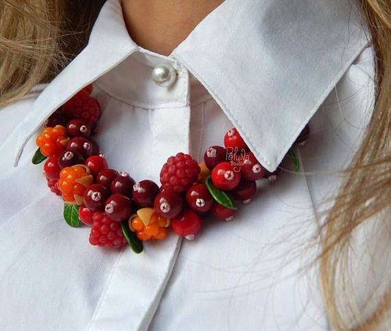 Autumn Fruit berry necklace  Woodland necklace  eco rustic
