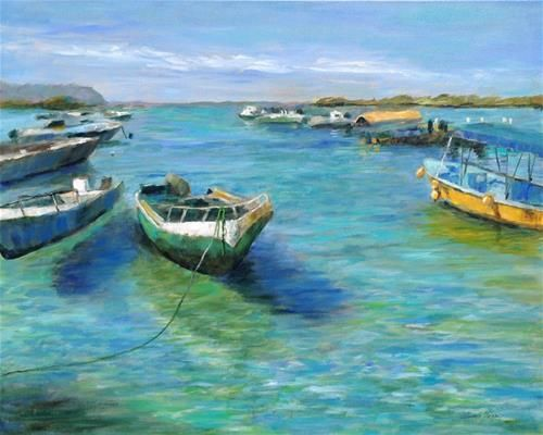 """Daily Paintworks - """"Galapagos Harbor"""" - Original Fine Art for Sale - © Nancy F. Morgan"""