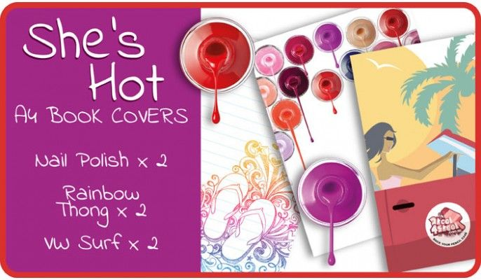 She's Hot Slip-On A4 School Book Covers - 6 pack