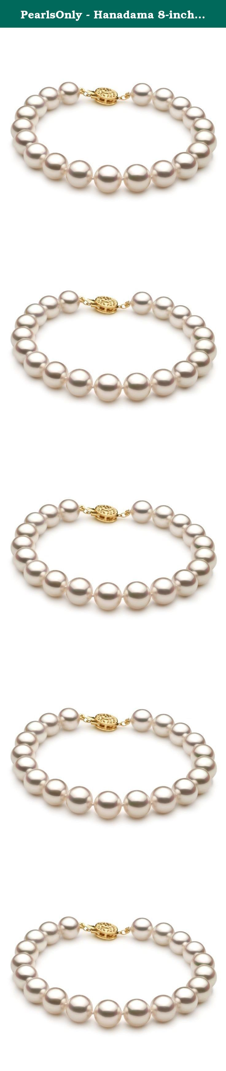 PearlsOnly - Hanadama 8-inch White 8.5-9mm Hanadama - AAAA Quality Japanese Akoya 14K Yellow Gold Cultured Pearl Bracelet. You simply can't find a higher quality or more impressive bracelet to grace your arm than this one. With 8 to 9 millimeter white Japanese Akoya cultured pearls that are hand-picked for their outstanding quality, this is a perfect piece to accompany your other favorite cultured pearl jewelry. This Hanadama AAAA quality bracelet features breathtaking mirror-like AAAA...