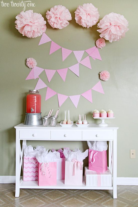 Pink baby shower decorations made easy with Command(TM) Brand Party products