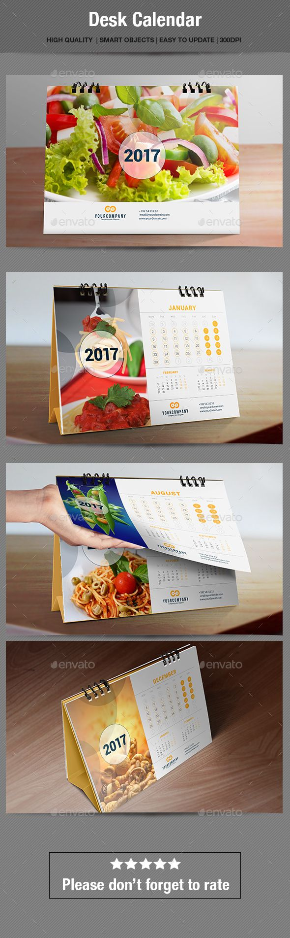 Desk Calendar 2017 Template PSD