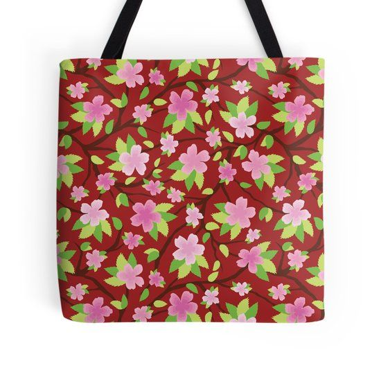 Sakura Blossom Pattern on tote bag and many other. Digital illustration of sakura flower or cherry blossom in a seamless pattern