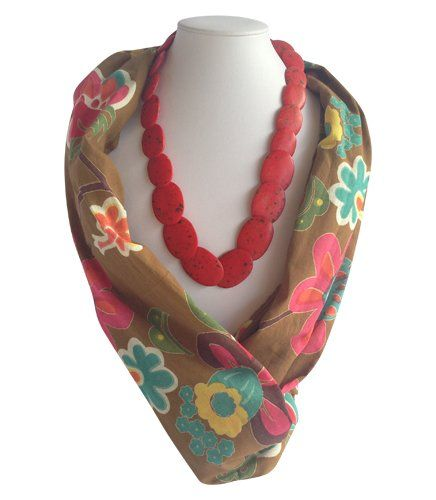 Mustard/Colour Flower Beaded Scarf | Indigo Heart - Fair Trade Fashion  A$23.95