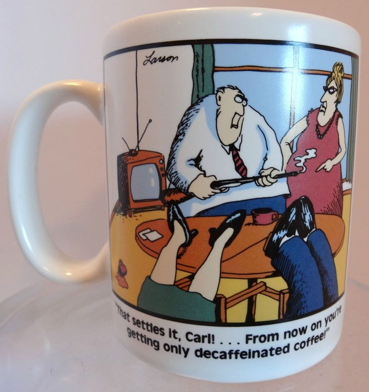 Farside Coffee Mug Gary Larson Decaffeinated Monday Vintage 1980