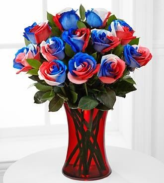 Tie Dyed Roses In Red White And Blue Or Any Color Of The Rainbow