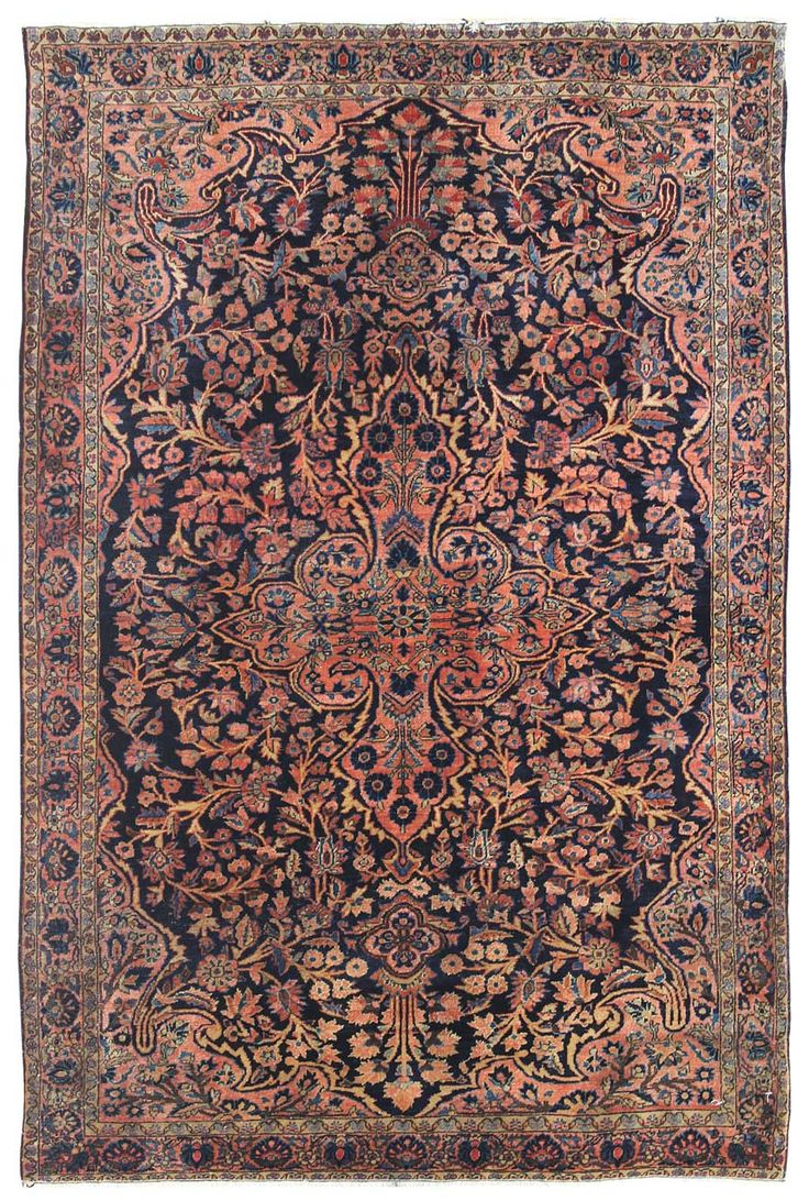 Antique Sarouk Rugs Gallery: Antique Sarouk Rug, Hand-knotted in Persia; size: 4 feet 1 inch(es) x 6 feet 1 inch(es)