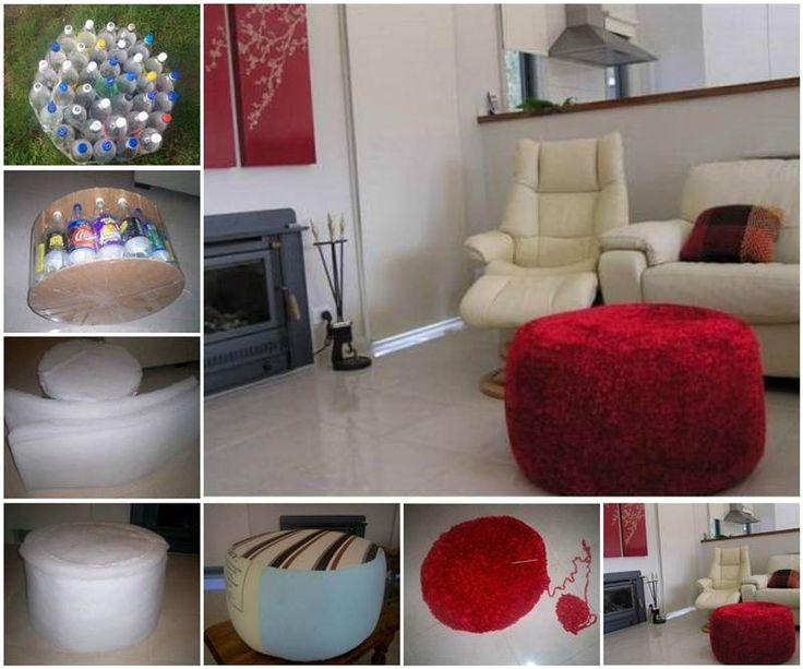 DIY Simple Ottoman from Recycled Plastic Bottles | GoodHomeDIY.com Follow Us on Facebook --> https://www.facebook.com/pages/Good-Home-DIY/438658622943462?ref=hl