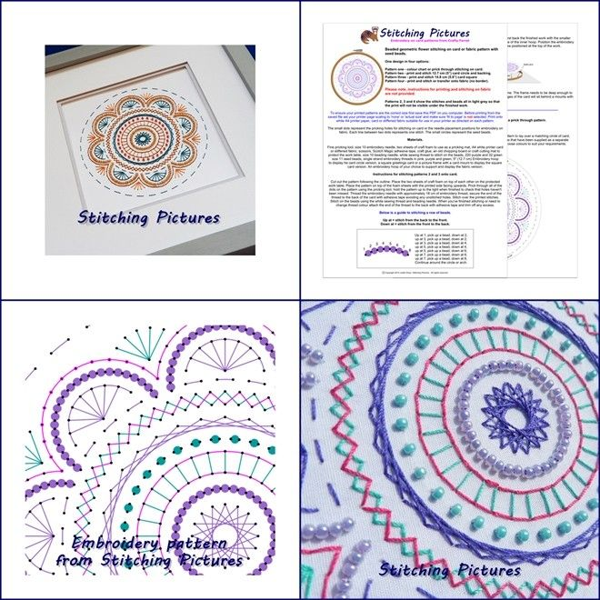 This mandala circle embroidery pattern with seed beads can be printed and stitched onto fabric or card. It can be displayed in a picture frame, added to a card or display in a hoop. The pattern can be download instantly from https://payhip.com/b/GPtN