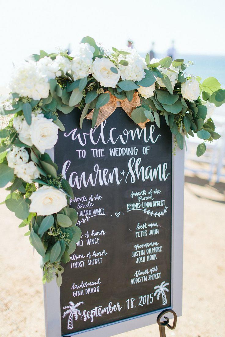 Blush & ivory chalkboard garland for a Sunset Cliffs  beach wedding ceremony  by San Diego wedding florist, Compass Floral.