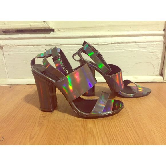 "Pewter Metallic Strappy High Heel Sandal Pewter Metallic Strappy High Heel Sandal with Block Heel and Metal Detail. Heel Height 4"", Never Worn. US 8.5/ EURO 39 Topshop Shoes Heels"
