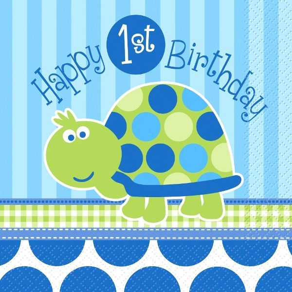 Turtle 1st Birthday Lunch Napkins 16ct