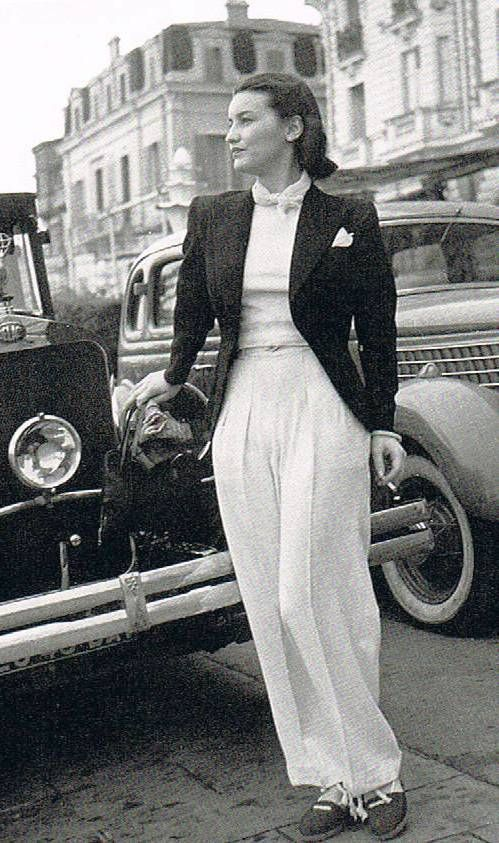 Chanel in Cannes, 1939 30s 40s white pant trouser blazer street photo couture fashion style