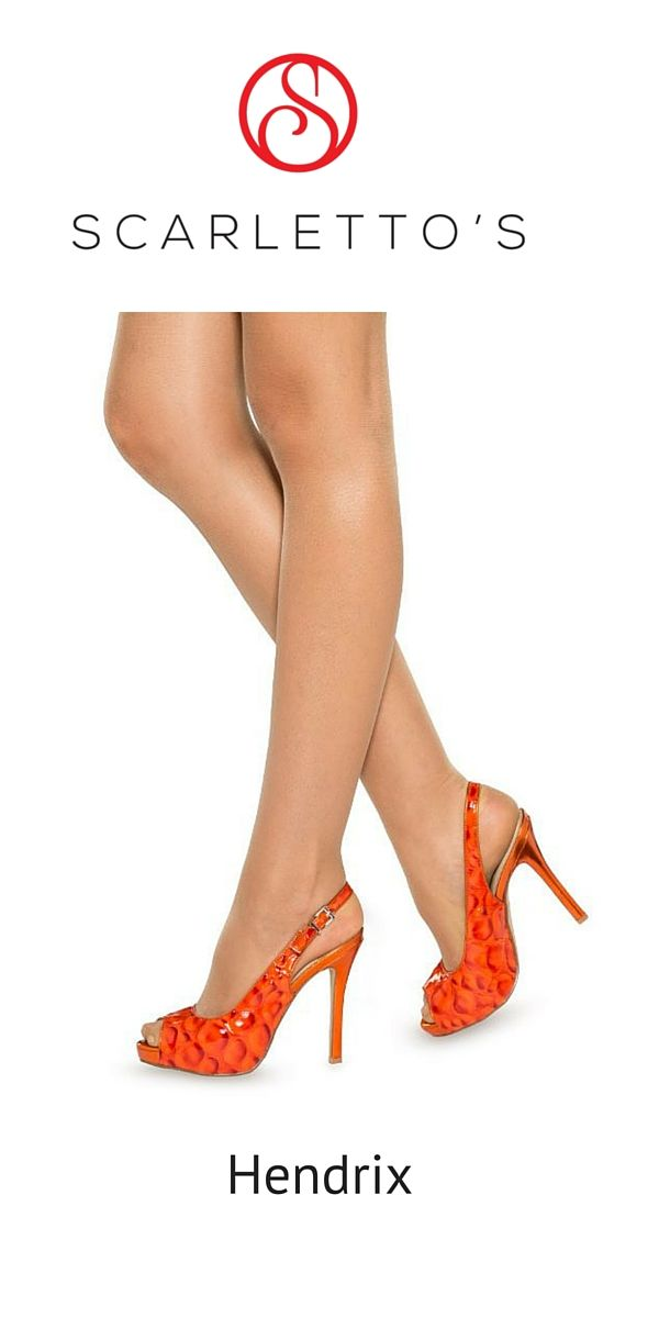 $149. For the fun-loving girl who's all about colour, the Hendrix make it easy to sparkle and party all night in these glamorous fanta orange, sling-back stilettos.  Orange is the hottest colour this season and there are endless combinations to match with these shoes. With a unique bubble texture and print, the Hendrix pump is guaranteed to make that little black dress go BAM! http://scarlettos.com.au/hendrix/