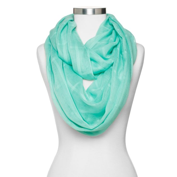 Women's Solid Checker Print Infinity Scarf - Mint (Green)