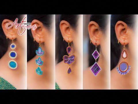 5 easy Stud Earring Design | DIY | 5 min Craft | Hand made jewelry | Art with Cr...
