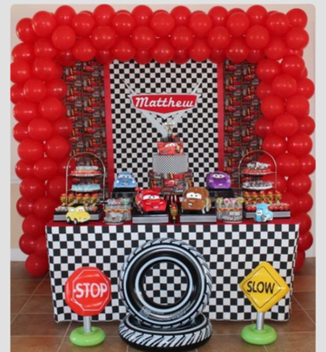 Table Display And Balloon Arch For Cars Theme
